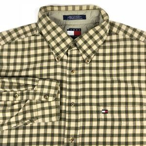 Vintage Tommy Hilfiger Green Khaki Check Shirt XL